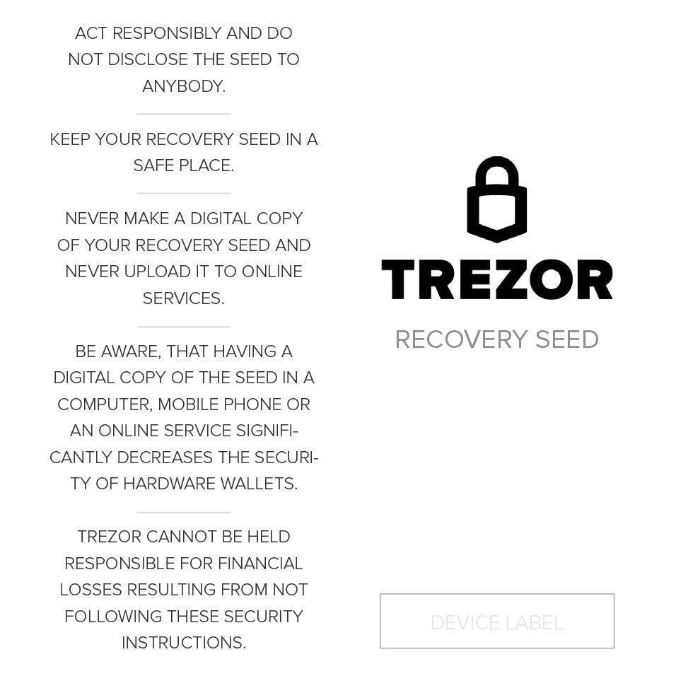 карточка для фразы trezor one