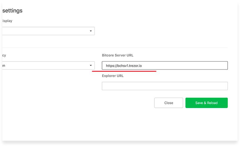 Переключение на ноду Bitcoin Cash SV